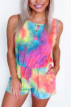 Load image into Gallery viewer, Cristalove Tie Dye Tank Button Romper