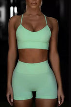 Load image into Gallery viewer, Cristalove  Yoga Set Seamless Running Sportswear(vest & shorts)