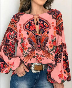 Custom-Printed V-Neck Strapped Loose Long Sleeved Shirt