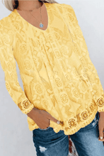 Load image into Gallery viewer, Cute V Neck Long Sleeve Lace Blouse