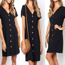 Load image into Gallery viewer, Daily Plain  V Collar Loose Shift Dress  | iluver