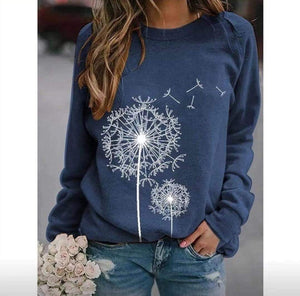Dandelion Print Round Neck Long Sleeve Casual Loose T-Shirt