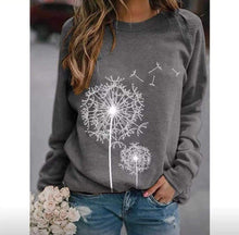 Load image into Gallery viewer, Dandelion Print Round Neck Long Sleeve Casual Loose T-Shirt