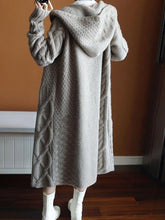 Load image into Gallery viewer, Casual Sweater with Cashmere Cardigan Hooded Long