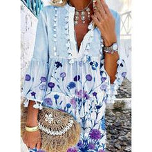 Load image into Gallery viewer, Print/Floral 3/4 Sleeves/Flare Sleeves Shift Above Knee Casual/Elegant Dresses