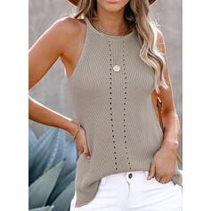 Solid Round Neck Sleeveless Casual Knit Tank Tops