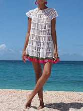 Load image into Gallery viewer, Short Sleeve Tassel Above Knee Travel Look A-Line Dress