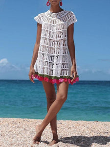 Short Sleeve Tassel Above Knee Travel Look A-Line Dress