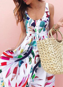 NEW! Print Sleeveless A-line Casual/Vacation Midi Dresses