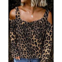 Load image into Gallery viewer, Leopard Cold Shoulder Long Sleeves Casual Blouses