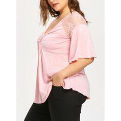 Solid Patchwork Lace V-Neck 1/2 Sleeves Casual Plus Size T-shirts