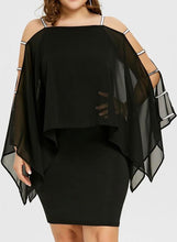 Load image into Gallery viewer, Solid Long Sleeves/Cold Shoulder Sleeve Bodycon Knee Length Little Black/Casual/Plus Size Dresses