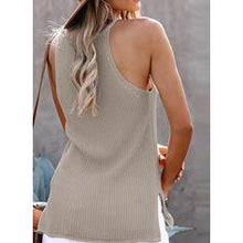 Load image into Gallery viewer, Solid Round Neck Sleeveless Casual Knit Tank Tops