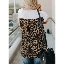 Load image into Gallery viewer, Print Patchwork Leopard V-Neck Short Sleeves Casual T-shirts