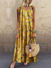 Load image into Gallery viewer, Fashion Floral Stitching Round Neck Sleeveless Loose Dresses