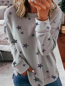 Fashion Star Print Stitching Long Sleeve T-shirt