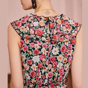 Floral Flounced Collar Long Flowing Holiday Dress