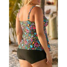 Load image into Gallery viewer, Floral Print Strap V-Neck Plus Size Colorful Tankinis Swimsuits