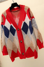 Load image into Gallery viewer, Geometric Print Paneled V-neck Knitted Cardigan