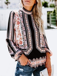 High Neck  Floral Printed  Blouses  |ZDT