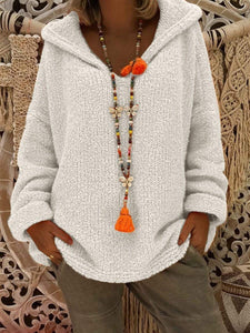 Hooded Plain Loose Long Sleeve Knitting Sweaters  | ZTD