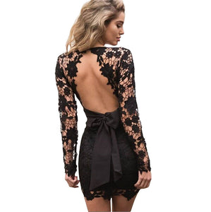 lace backless evening dress