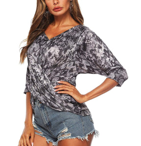 Irregular Bat Sleeve Five Point Sleeves Off Shoulder crossover T-shirt