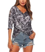 Load image into Gallery viewer, Irregular Bat Sleeve Five Point Sleeves Off Shoulder crossover T-shirt