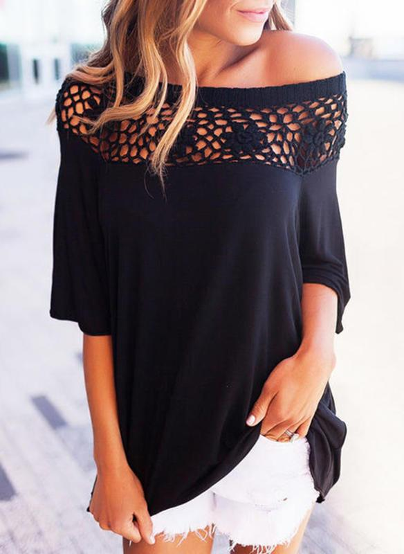 Lace Off the Shoulder 1/2 Sleeves Casual Knit Blouses