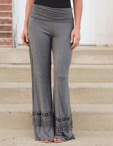 Lace Panel Wide Leg Pants