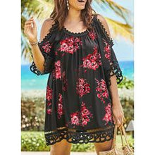 Load image into Gallery viewer, Lace/Print/Floral 1/2 Sleeves/Cold Shoulder Sleeve Shift Above Knee Plus Size Dresses