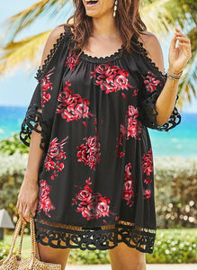 Lace/Print/Floral 1/2 Sleeves/Cold Shoulder Sleeve Shift Above Knee Plus Size Dresses