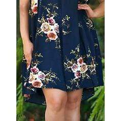 Lace/Print/Floral Sleeveless Shift Knee Length Casual/Elegant/Plus Size Dresses