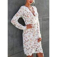 Load image into Gallery viewer, Lace/Solid Long Sleeves Bodycon Knee Length Party/Elegant Dresses