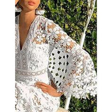 Load image into Gallery viewer, Lace/Solid Long Sleeves/Flare Sleeves A-line Casual/Vacation Midi Dresses