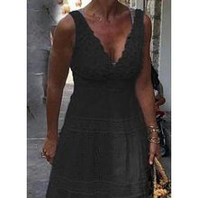 Load image into Gallery viewer, Lace/Solid Sleeveless A-line Little Black/Casual/Vacation Maxi Dresses