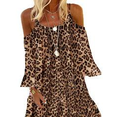 Leopard Long Sleeves/Cold Shoulder Sleeve Shift Above Knee Casual/Vacation Dresses