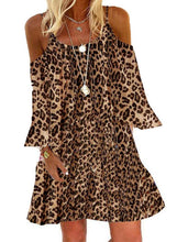 Load image into Gallery viewer, Leopard Long Sleeves/Cold Shoulder Sleeve Shift Above Knee Casual/Vacation Dresses