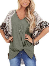 Load image into Gallery viewer, Leopard Print Lace Patchwork Sleeve Blouse