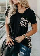 Load image into Gallery viewer, Leopard Printed Splicing T-Shirt Tee without Necklace