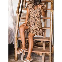 Load image into Gallery viewer, Leopard Short Sleeves A-line Above Knee Casual/Vacation Dresses