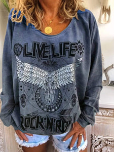 Long Sleeve Printed Casual T Shirt