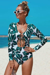Long Sleeve Sexy Banded One Piece Swimsuit