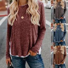 Load image into Gallery viewer, Long sleeve T-shirt with patchwork hem and split ends