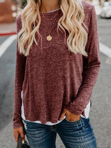 Long sleeve T-shirt with patchwork hem and split ends