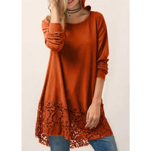 Load image into Gallery viewer, Long-Sleeved T-Shirt Lace Stitching Hooded Sweater  | ZDT