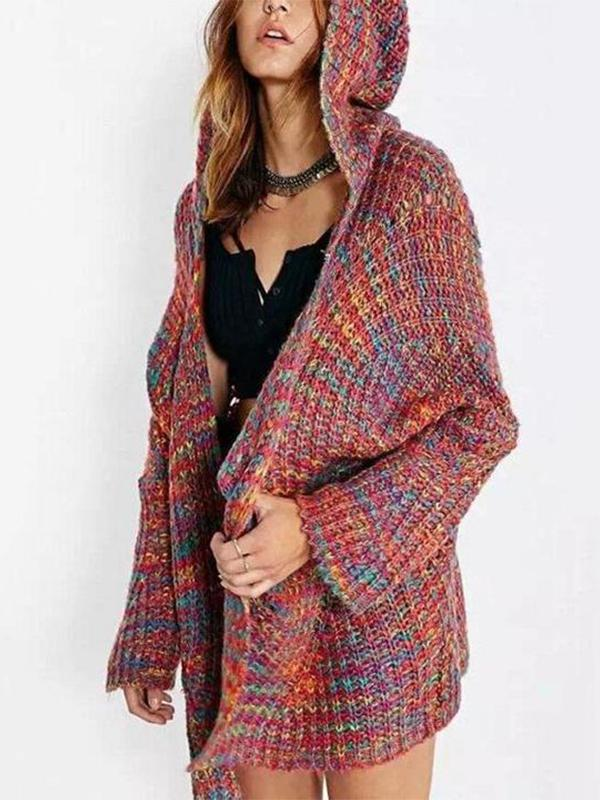 Loose Large Size Color Hooded Sweater Cardigan Coat  |ZDT