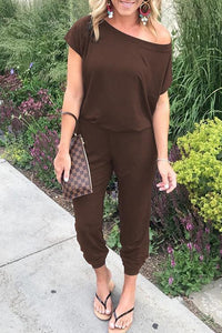 Multicolor Oblique Off Shoulder Temperament And Thin Short Sleeved Jumpsuit