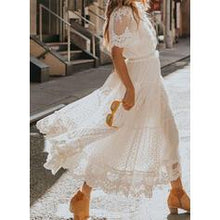Load image into Gallery viewer, NEW! Lace/Solid Short Sleeves A-line Casual/Elegant Maxi Dresses