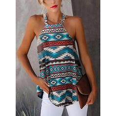 NEW! Print Round Neck Sleeveless Casual Tank Tops